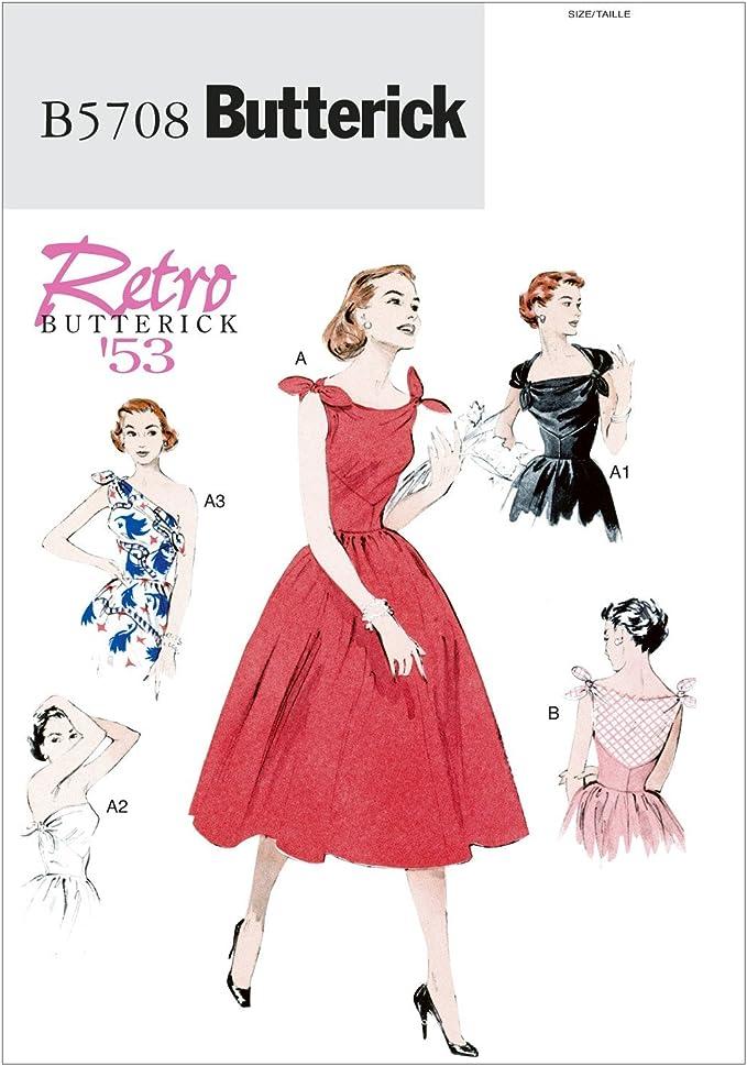 1950s Sewing Patterns | Dresses, Skirts, Tops, Mens Butterick Patterns B5708 Size A5 6-8-10-12-14 Misses Dress Pack of 1 White £7.25 AT vintagedancer.com