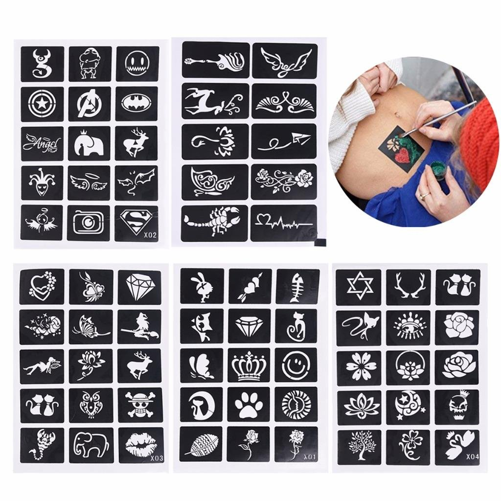 Xiangfeng 70 Mini Sheets Self-adhesive Tattoo Stencils Template Indian Painting Stencil Tattoo for Body Art Painting Glitter Airbrush Tattoo Fragrant pink