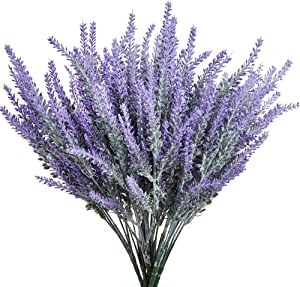 KLEMOO Artificial Lavender Flowers 4 Pieces for Wedding Decor and Table Centerpieces, Lifelike Fake Plant Bouquet to Brighten up Your Home Kitchen Garden and Indoor Outdoor Decor(Purple)