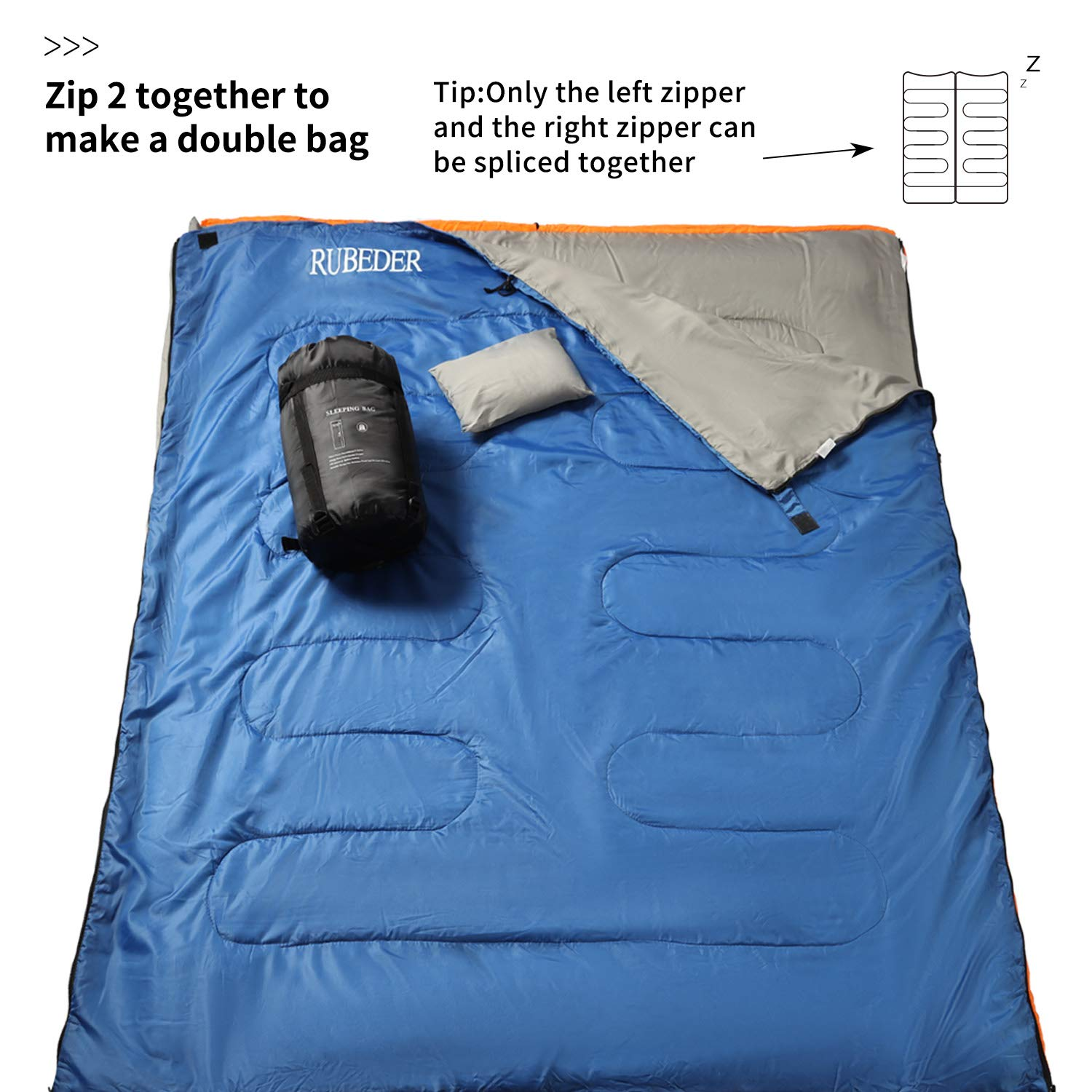 RUBEDER Sleeping Bag – Lightweight Portable, Waterproof, Comfort with Compression Sack – Great for 3 Season Traveling,Camping,Hiking Sleeping Bags