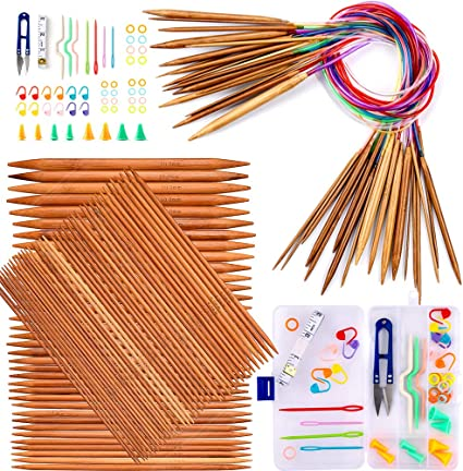 75 Pcs 15 Sizes Bamboo Double Pointed Knitting Needles Set Weaving Tools Knitting Kits Exquiss Knitting Needles Set-18 Pairs 18 Sizes Bamboo Circular Knitting Needles with Colored Tube