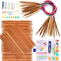 Exquiss Knitting Needles Set-18 Pairs 18 Sizes Bamboo Circular Knitting Needles with Colored Tube + 75 Pcs 15 Sizes…