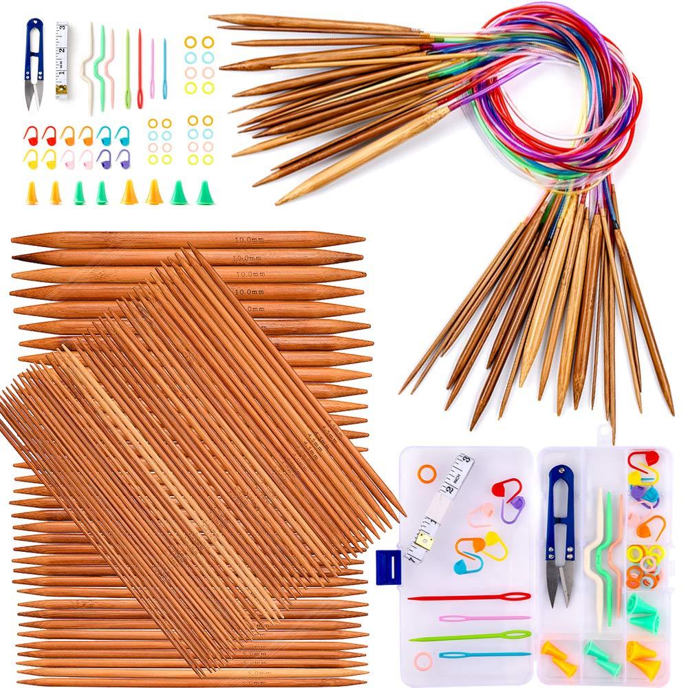 Exquiss Knitting Needles Set-18 Pairs 18 Sizes Bamboo Circular Knitting Needles with Colored Tube + 75 Pcs 15 Sizes Bamboo Double Pointed Knitting Needles Set + Weaving Tools Knitting Kits