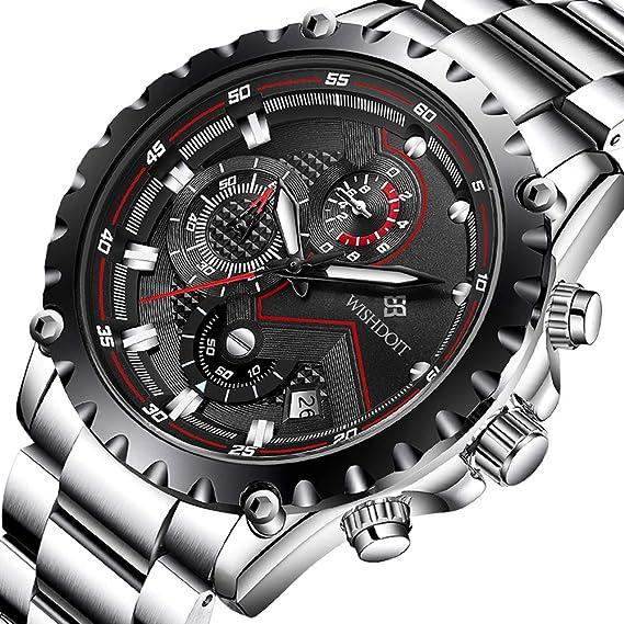 WISHDOIT Hombre Casual Deportes Impermeable Cuarzo Analógico Reloj con Moda Pulseras Negras De Acero Inoxidable 9821A: Amazon.es: Relojes