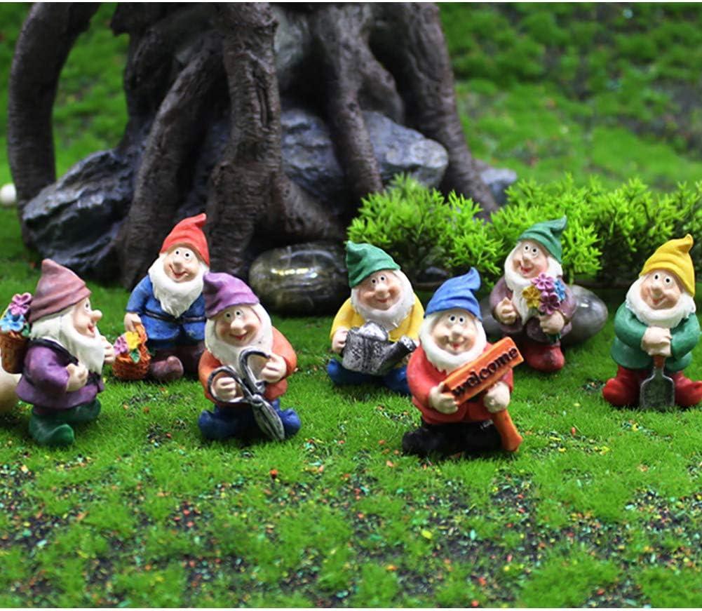 Miniature Gnome Figurines 6 Pcs Fairy Garden Gnome Statues Micro Landscape Decoration Plant Flower Pots Ornaments