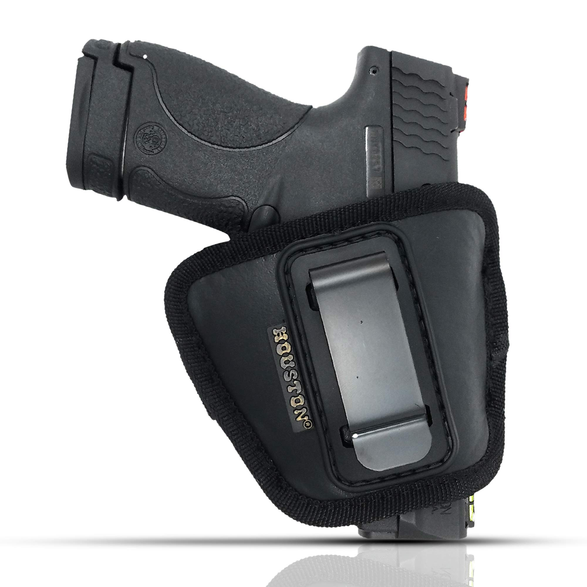 IWB and Outside Gun Holster by Houston - ECO Leather Concealed Carry Soft Material | Fits Glock 26/27/33, Shield, XDS, Taurus 709, Taurus Pro C, Walther P22, Beretta Nano, SCCY Sky.Ruger LC9 by Houston Gun Holsters