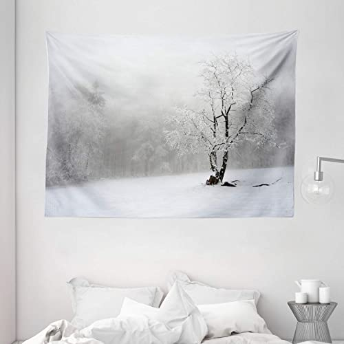 Ambesonne Tree Tapestry, Winter Landscape Picture with a Tree in Snowy Field and Foggy Forest at The Back, Wide Wall Hanging for Bedroom Living Room Dorm, 80 X 60 , White Black