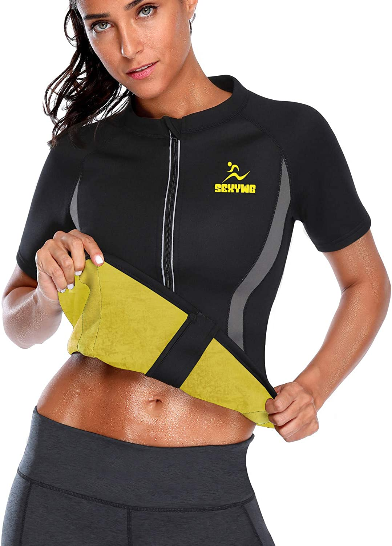 Women Hot Sweat Weight Loss Shirt Body Shaper Sauna Jacket Suit gym gear fitness