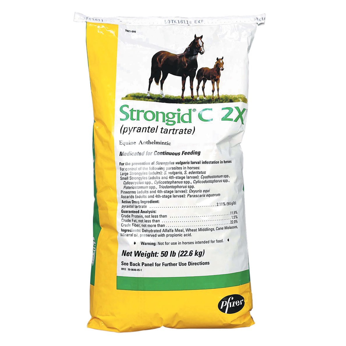 Strongid C 2X Daily Feed Pelleted Wormer 50 lb by Strongid (Image #1)