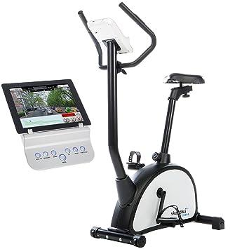 skandika Gaia - bicicleta estática de fitness - Bluetooth compatible con iConsole - Pulsómetro - Volante