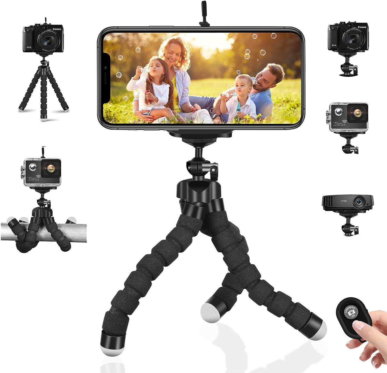Trípode de teléfono móvil Trípodes de cámara Flexibles Mini Soporte de Soporte Ligero portátil + Bluetooth Remoto y Clip para teléfono para iPhone, Android Samsung, cámara Deportiva GoPro