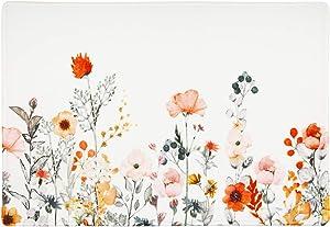 "LIVILAN Orange Pink Flowers Bath Rug Soft Memory Foam Non Slip Green Leaf Bath Mat, Floral Bathroom Decor Rug Shaggy Bathroom Floor Carpet Absorbent, Super Cozy Machine Wash and Dry, 16"" X 24"""