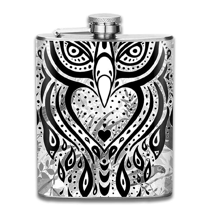 Tatuaje de búho con matraz de acero inoxidable de 7 oz (2) Botella ...