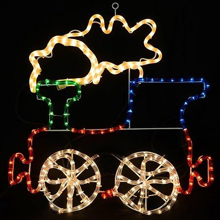 christmas concepts rope light train with flashing wheel smoke 57cm x 63cm