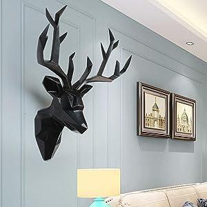 SUN RDPP Faux Taxidermy Resin Deer Head in Animal Head Wall Decor Deer Head Wall Mount Sculpture,Black