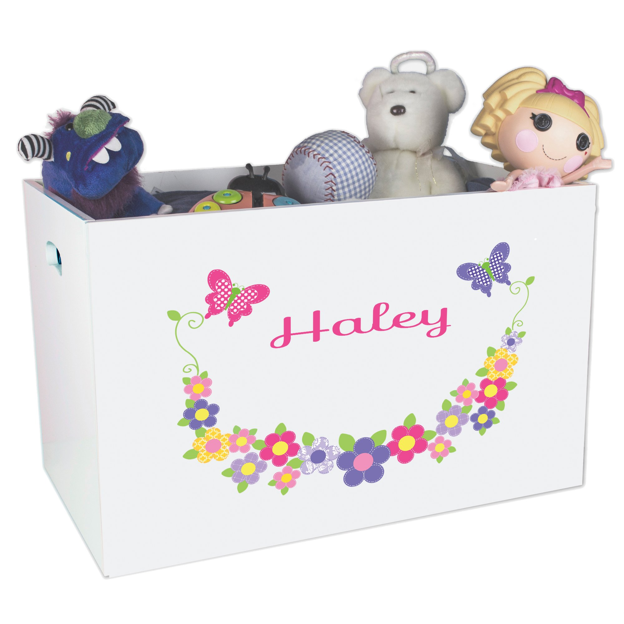 Personalized Butterflies Garland Childrens Nursery White Open Toy Box