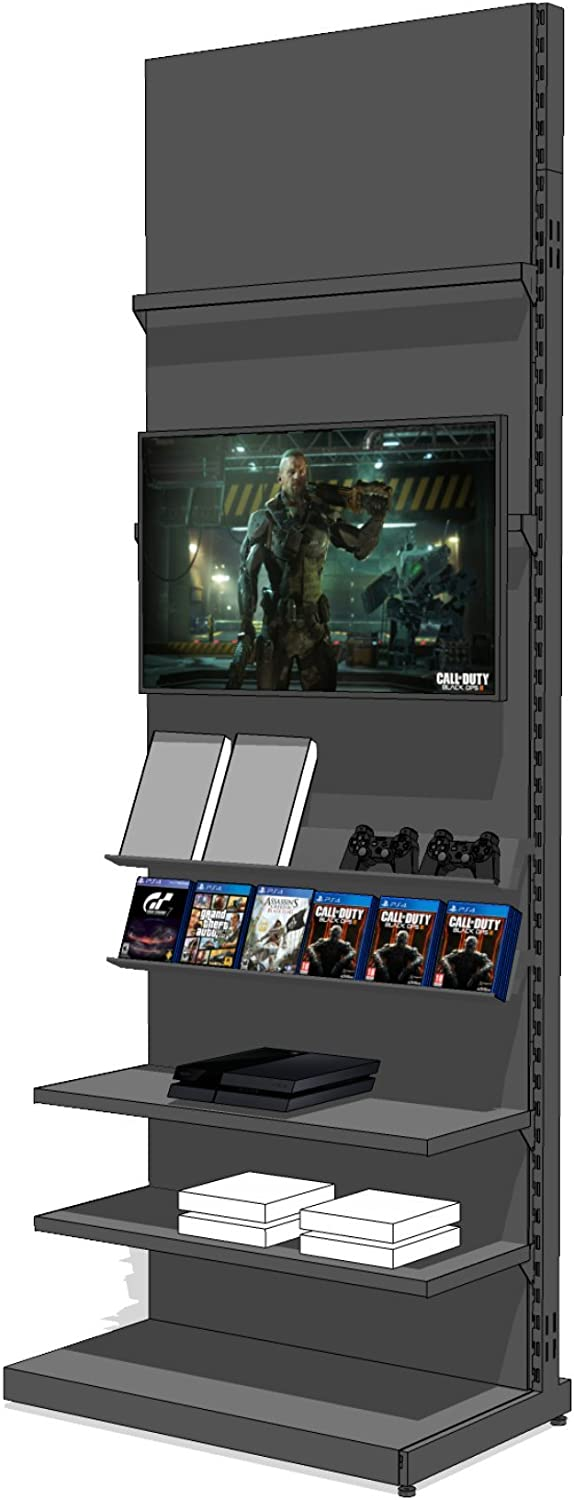 Premium TV Entertainment Center – Ultra Strong Steel Media Center & TV Stand for Home Entertainment System – DVD Storage, Video Game Storage, Xbox One Storage – Adjustable & Easy to Assemble