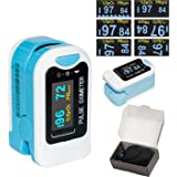 CMS50N Fingertip Pulse Oximeter Oximetry Blood Oxygen Saturation Monitor with carrying case and lanyard