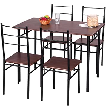 Merax 5 Piece Dining Set Table and Chairs Kitchen Modern Furniture with  Steel Frame  Brown. Amazon com   Merax 5 Piece Dining Set Table and Chairs Kitchen
