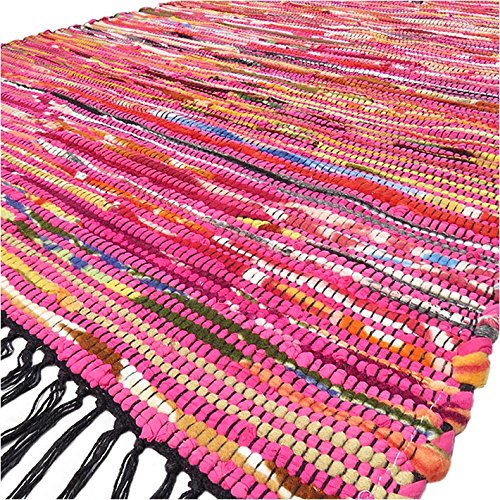 Eyes of India - 3 X 5 ft Red Pink Colorful Woven Chindi Rag Rug Boho Decorative Bohemian -