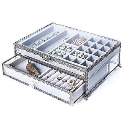 c019662e4 Amazon.com: PuTwo Jewelry Boxes 22 Sections Metal Glass Jewelry ...