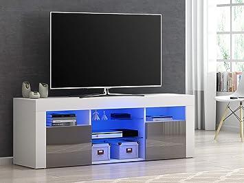 Mueble Moderno para TV, aparador de Alto Brillo con luz LED RGB, Muebles de salón de 4 Colores Gris: Amazon.es: Electrónica