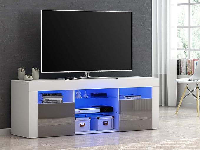 Mueble Moderno para TV, aparador de Alto Brillo con luz LED RGB ...