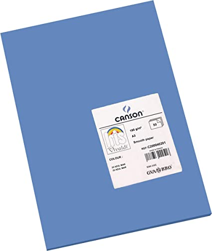 Oferta amazon: Canson Iris - Cartulina, 50 Unidades, Color Azul Mar