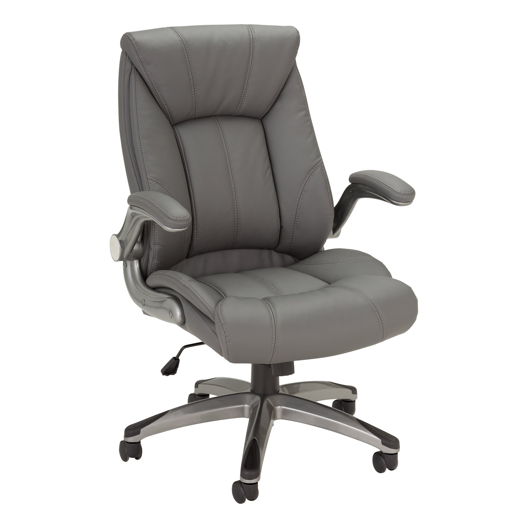 Norwood Commercial Furniture  Executive Chair with Flip-Up Arms, Gray, NOR-OUG1041GR-SO
