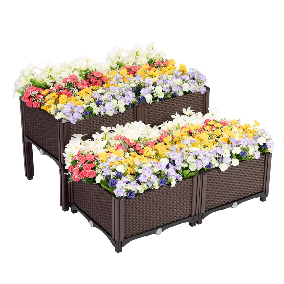 VIVOHOME Elevated Plastic Raised Garden Bed Planter Kit for Flower Vegetable Grow Brown Set of 4
