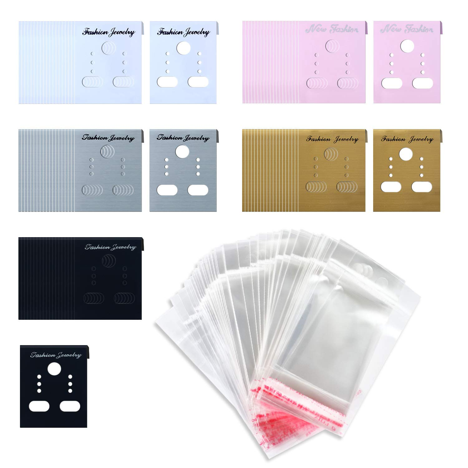 SoFire 100 Pieces 5 Colors Earring Display Cards Ear Stud Cards and 100 Pack Self-Seal Bags huangcongjian