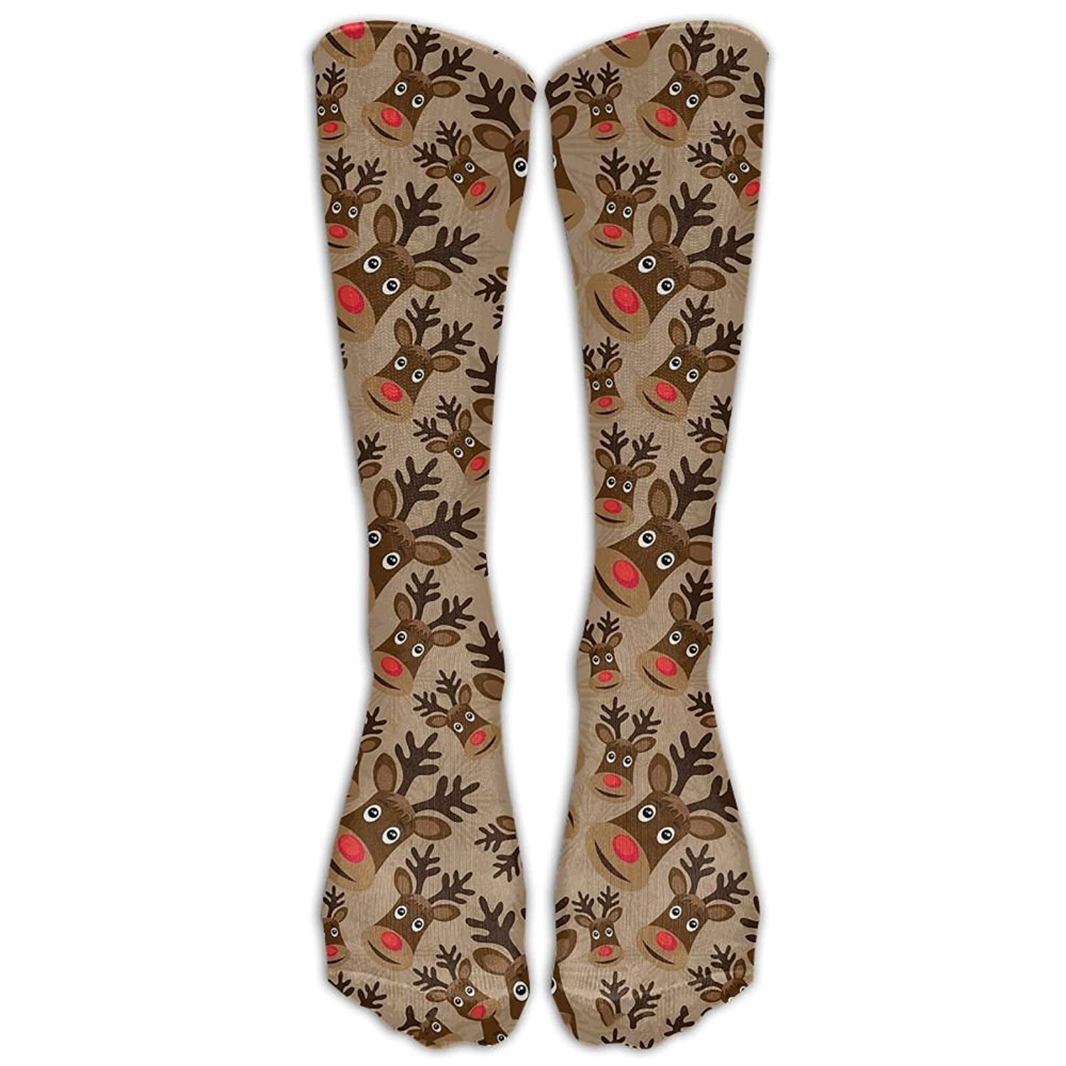 Womens Reindeer Printed Sock Over Knee High Boots Girls Long Socks