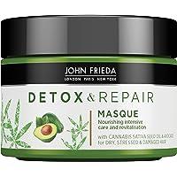 John Frieda Detox & Repair Mask för torrt, skadat och skadat hår med avokadoolja och grönt te, 250 ml
