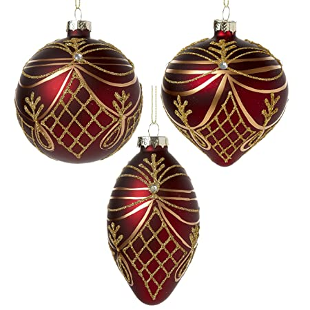 Set Of 3 Deep Red Burgundy Christmas Tree Decorations With Gold