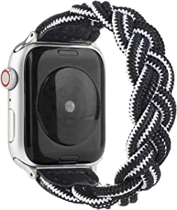 Sufderny Braided Stretchy Nylon Loop Bands Compatible with Apple Watch Elastic Plaits Strap Wristband 44mm 42mm Series 6 5 4 3 2 1 SE, Black/White