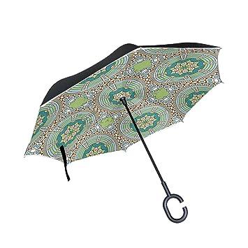 MAILIM Florals - Paraguas invertido con Mandala India (Doble Capa, Mango en C,