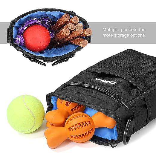 ORIA Perro Bolsa de Tratar, 4 in 1 Perro Mascota Bolsa mit Dispensador, Tazón de Perro, Bolsas Desechables.: Amazon.es: Productos para mascotas