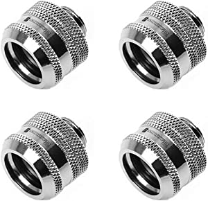 "Barrow G1/4"" to 16mm Hard Tubing Compression Fitting (for Use with Barrow Rigid Tubing Only), Silver Shiny, 4-Pack"