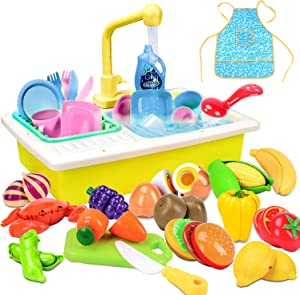 Kids Kitchen Playset SinkToys withPlay FoodAccessories, Color Changing Dish, Electric Dishwasher with Running Water, Pretend Play Kitchen Set Toy Gift for Toddler Kids 2 3 4 5 6 7 Year Old Girl Boy
