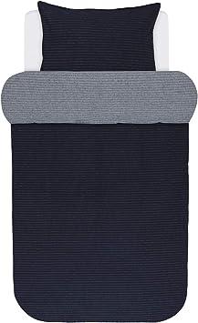 Marc O Polo Flanell Wendebettwäsche Zann Marine 1 Bettbezug 240 x 220 cm + 2 Kissenbezüge 80 x 80 cm