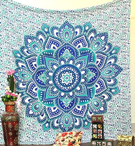 - Green and Blue Mandala Tapestry Ombre Mandala wall hanging Hippie Hippy Tapestry Dorm Decor Psychedelic Tapestries Indian Tapestry Bohemian Bedspread Bedding Bed cover Throw curtain Beach Blanket