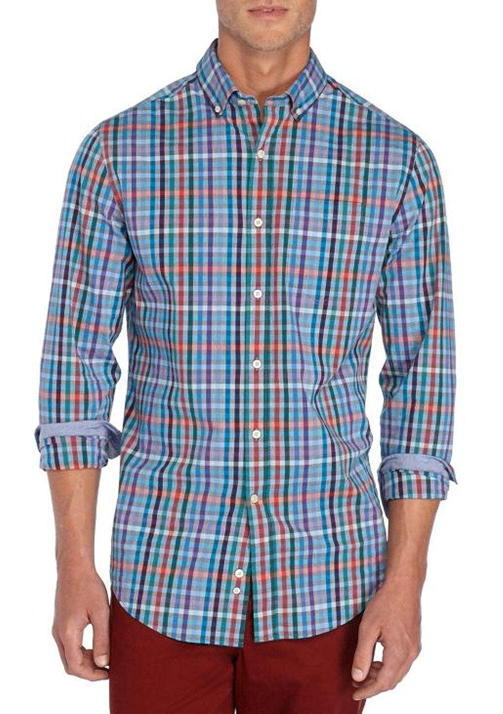 Crown /& Ivy Mens Big /& Tall Long Sleeve Stretch Medium Plaid Shirt