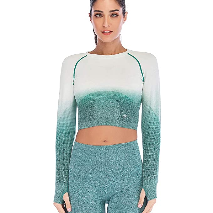 Leoyee Seamless Gradient Gym Medias Camisa Deportiva Yoga Top para Mujeres Running Camiseta de Entrenamiento Top de Manga Larga