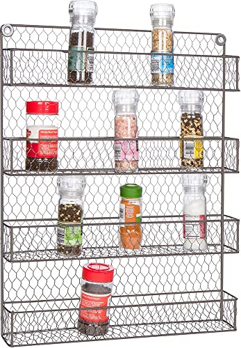 Trademark Innovations 4-Tier Wire Spice Rack Storage Organizer – Wall Mount or Countertop