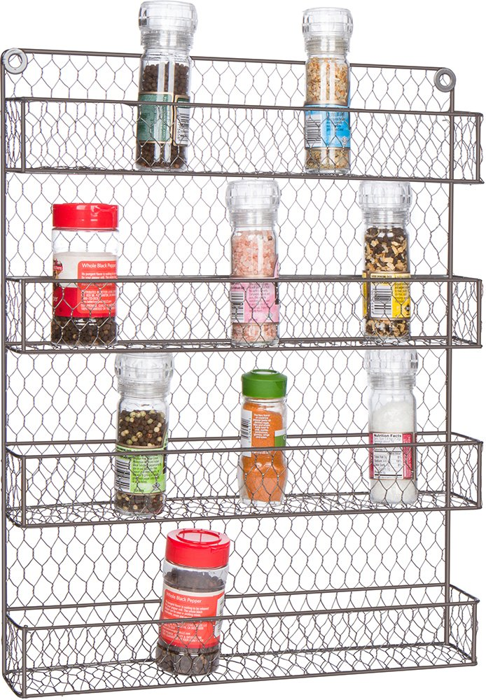 4-Tier Wire Spice Rack Storage Organizer - Wall Mount or Countertop by Trademark Innovations RACK-SPICE-ORGNZR-LG