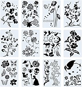 Poproo Painting Stencils Set Drawing Templates for Kids & Adults - for Bullet Journal, Planner, Scrapbook and DIY Craft (12 Pack, 10.2x6.7 inch)