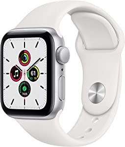 New Apple Watch SE (GPS, 40mm) - Silver Aluminum Case with White Sport Band (Renewed)