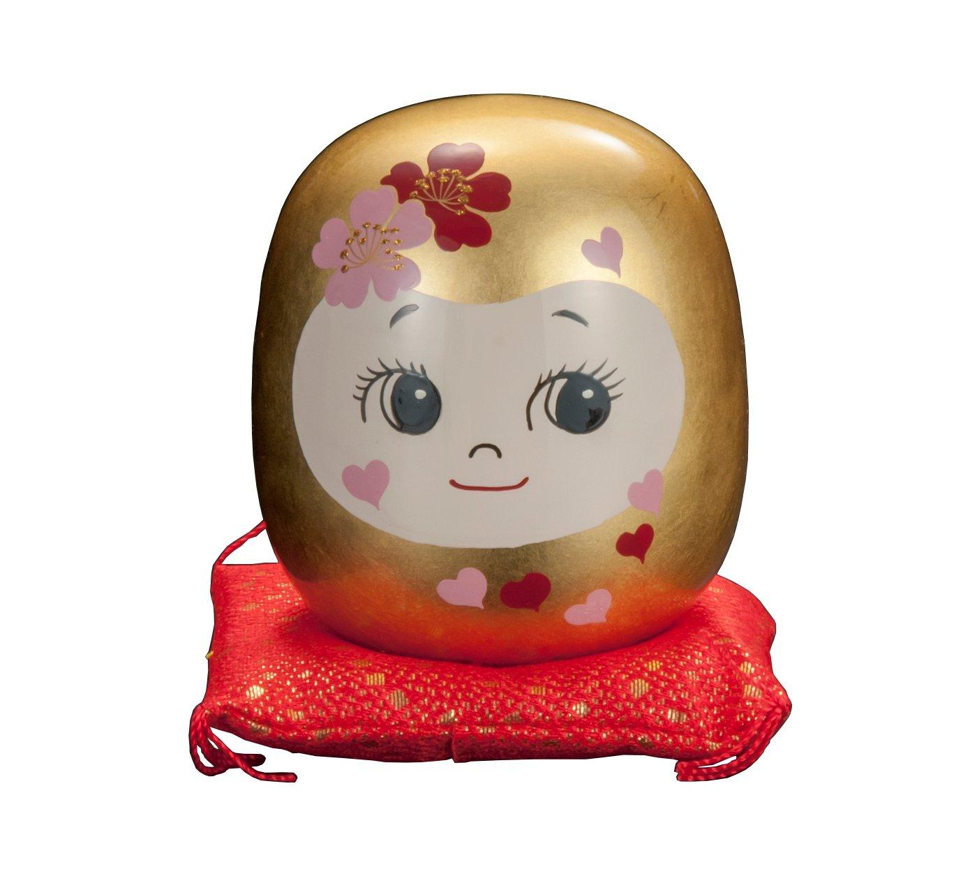 タジマ 金沢金箔 カワイイ花姫だるま(小) B01K1J8X76