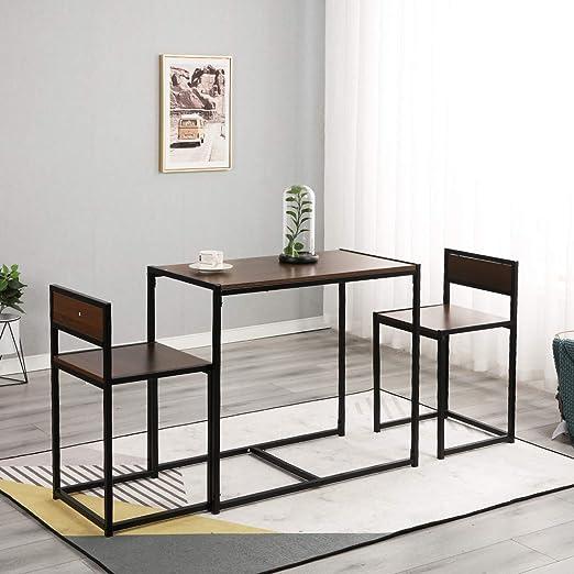 SogesHome Juego de Mesa de Comedor y 2 sillas (3 Piezas) Estilo Industrial para Comedor Sala Cocina Restaurante,SH-LD-CT01WNT: Amazon.es: Hogar