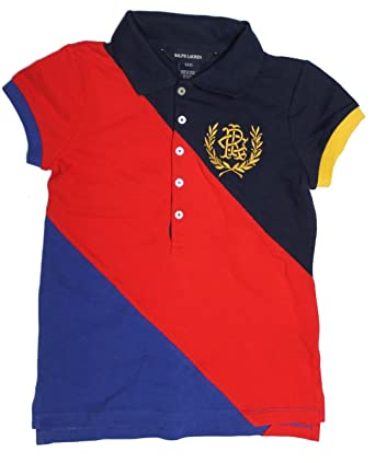 2b35ff14a5c POLO RALPH LAUREN Girls Kids Diagonal Block Polo Tee T-Shirt Top HG65   Amazon.co.uk  Clothing